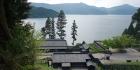 Pohled z šogunátního hraničního přechodu v Hakone