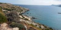 Rhodos - pohled podél výběžku dělící pláže
